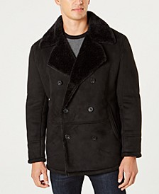 Men's Faux Sherpa Collar Double-Breasted Pea Coat