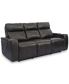 "Oaklyn 84"" Leather Sofa With Power Recliners, Power Headrests, USB Power Outlet and Drop Down Table"