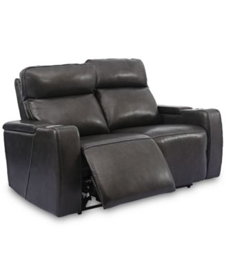 """Oaklyn 61"""" Leather Loveseat with 2 Power Motion Recliners"""
