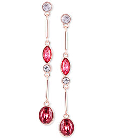 GUESS Rose Gold-Tone Crystal Linear Drop Earrings