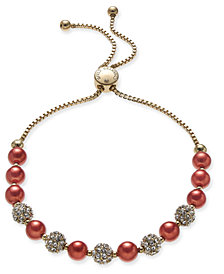 Charter Club Gold-Tone Red Imitation Pearl Crystal Slider Bracelet, Created for Macy's