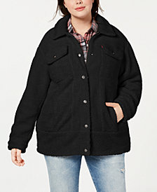 Levi's® Trendy Plus Size Long Line Sherpa Trucker Jacket