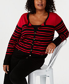 Karen Scott Plus Size Striped Cardigan, Created for Macy's