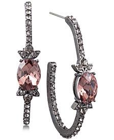 Jenny Packham Hematite-Tone Pavé & Stone Open Hoop Earrings