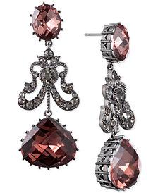 Jenny Packham Hematite-Tone Pavé & Stone Double Drop Earrings