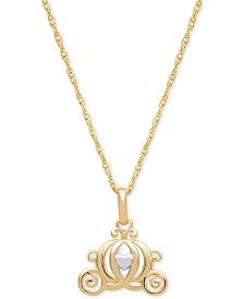 "Disney© Children's Carriage 15"" Pendant Necklace in 14k Gold"