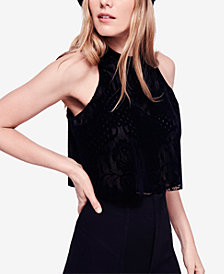 Free People Walk This Way Sleeveless Velvet Crop Top