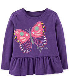 Carter's Toddler Girls Butterfly-Print Peplum T-Shirt