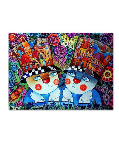 """Trademark Global Oxana Ziaka 'Twins' Canvas Art - 19"""" x 14"""" x 2"""""""