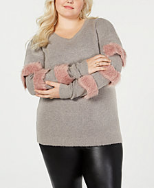 Say What? Trendy Plus Size Faux-Fur Trim Sweater
