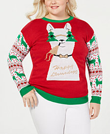"Planet Gold Trendy Plus Size ""Happy Llamadays"" Christmas Sweater"