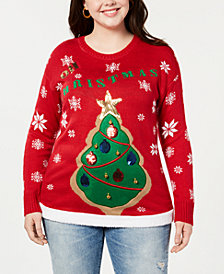 "Planet Gold Trendy Plus Size ""Oh Christmas"" Tree Sweater"