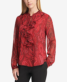 Tommy Hilfiger Paisley-Print Ruffle-Front Blouse