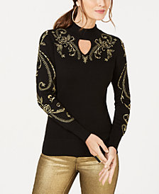 Thalia Sodi Embroidered Keyhole Sweater, Created for Macy's
