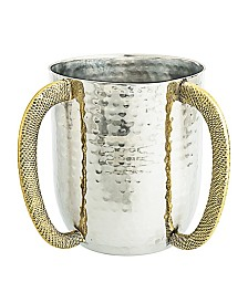 Clasic Touch Stainless Steel Hammered Wash Cup with Gold Embossed Handles