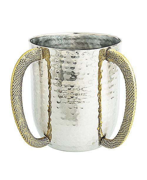 Classic Touch Clasic Touch Stainless Steel Hammered Wash Cup with Gold Embossed Handles