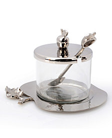 Classic Touch Nickel Honey Dish with Apple Shaped Tray
