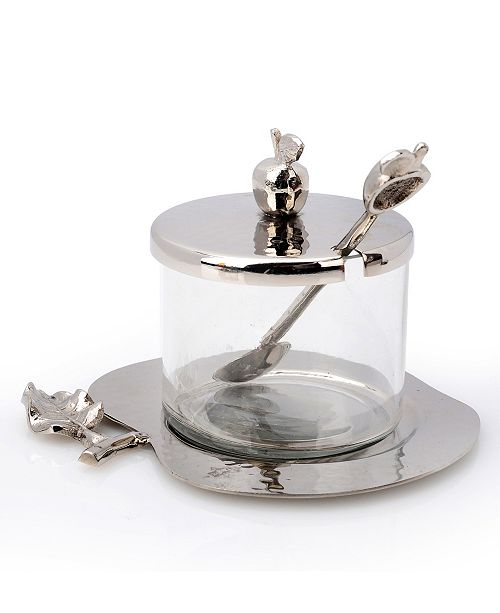Classic Touch Nickel and Glass Honey Dish with Apple Shaped Tray
