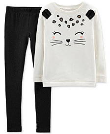 Carter's Little & Big Girls 2-Pc. Cat-Face Sweatshirt & Glitter Leggings Set