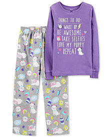 Carter's Little & Big Girls 2-Pc. Purple Puppy-Print Pajamas Set
