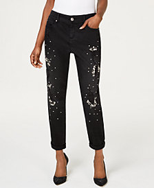 I.N.C. Crystal-Embellished Distressed Boyfriend Jeans, Created for Macy's