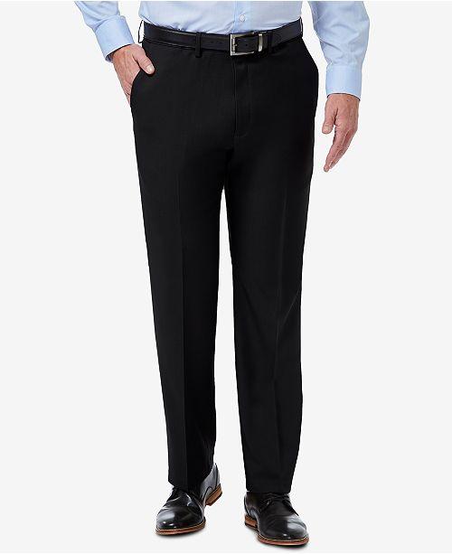 Haggar Men's Premium Comfort Stretch Classic-Fit Solid Flat Front Dress Pants