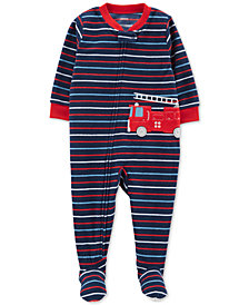Carter's Toddler Boys Fire Truck Striped Fleece Pajamas