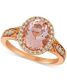 Morganite (1-3/4 ct. t.w.) and Diamond (3/8 ct. t.w.) Ring in 14k Rose Gold