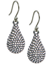 Lucky Brand Silver-Tone Pavé Drop Earrings