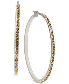 Lucky Brand Silver-Tone Pavé Hoop Earrings