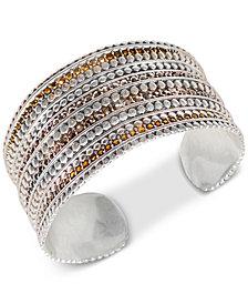 Lucky Brand Silver-Tone Pavé Cuff Bracelet