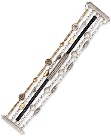 Lucky Brand Two-Tone Crystal, Imitation Pearl & Leather Multi-Row Flex Bracelet
