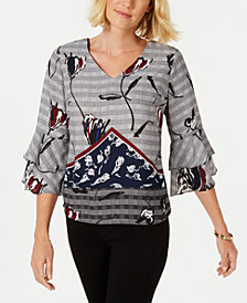 NY Collection Petite Layered Bell-Sleeve Top