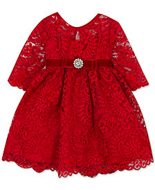 Rare Editions Little Girls Long-Sleeve Lace Party Dress