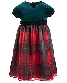 Good Lad Toddler Girls Velvet Plaid Dress