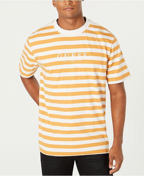 premium urval hela samlingen ny design GUESS Originals Men's Striped Logo T-Shirt & Reviews - T-Shirts ...