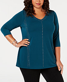 Belle by Belldini Plus Size Studded 3/4-Sleeve Top