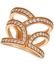 Le Vian® Nude Diamonds™ Abstract Openwork Statement Ring (1 ct. t.w.) in 14k Rose Gold