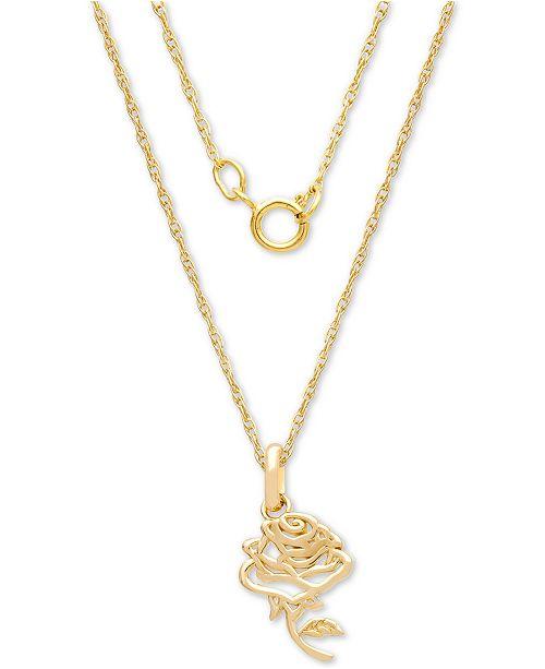 c985cffa3a755 Children's Belle Rose 15 Pendant Necklace in 14k Gold
