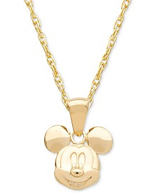 "Disney© Children's Mickey Mouse 15"" Pendant Necklace in 14k Gold"