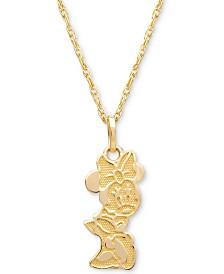 "Disney© Children's Minnie Mouse Character 15"" Pendant Necklace in 14k Gold"