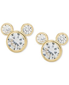 Children's Cubic Zirconia Mickey Mouse Stud Earrings in 14k Gold