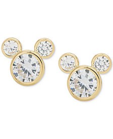 Disney© Children's Cubic Zirconia Mickey Mouse Stud Earrings in 14k Gold