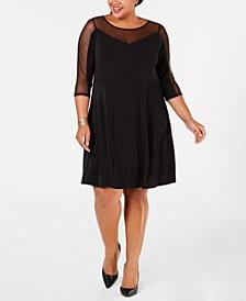 Plus Size Mesh-Trim A-Line Dress