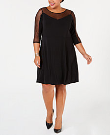 Belldini Plus Size Mesh-Trim A-Line Dress