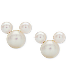 Disney© Children's Mother-of-Pearl Mickey Mouse Stud Earrings in 14k Gold