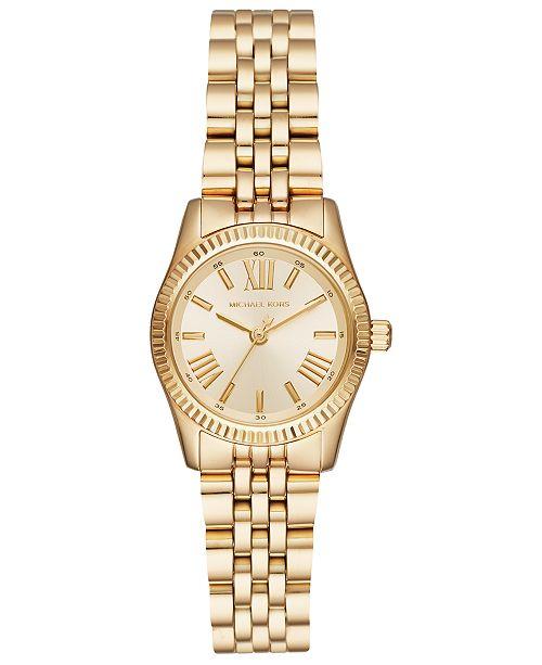 51b972548364 ... Michael Kors Women's Lexington Gold-Tone Stainless Steel Bracelet Watch  ...
