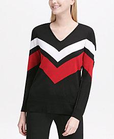 Calvin Klein V-Neck Chevron Sweater