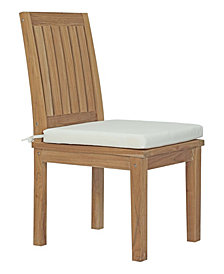 Modway Marina Outdoor Patio Teak Dining Chair White