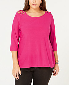 Belldini Plus Size Cutout-Shoulder Top